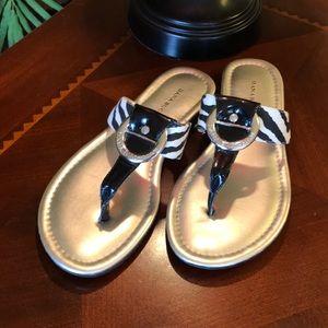 Dana Buchanan Zebra Print Thong Sandals